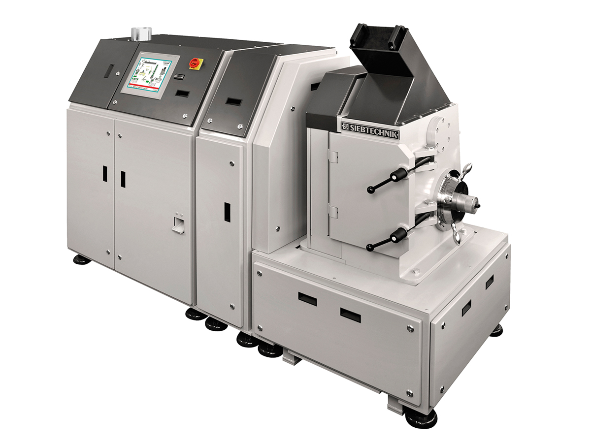 Mit der Automatische Mahl- und Pressanlage AMP können Schüttgutproben in Prüflinge für einen XRF oder XRD-Analysator überführt werden