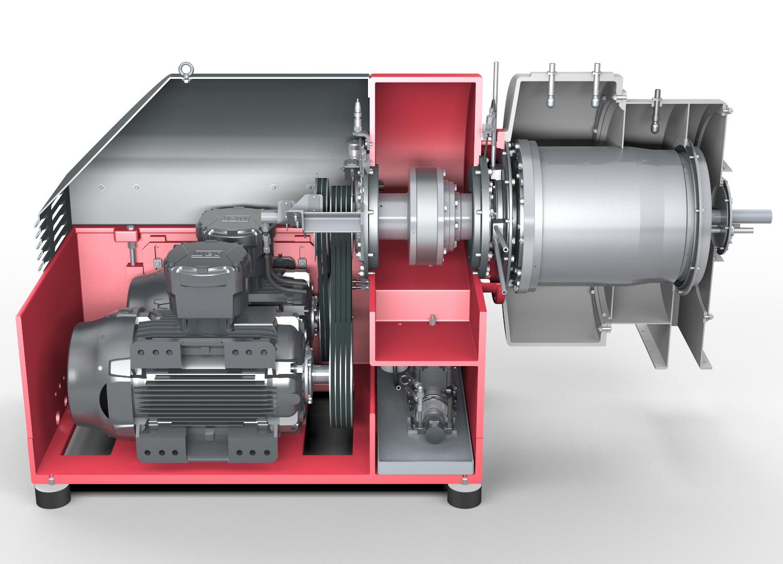 Dekantierzentrifuge SHORTBOWL - Ansicht auf Motor, Getriebe und Trommel (Vereinfachte Darstellung)