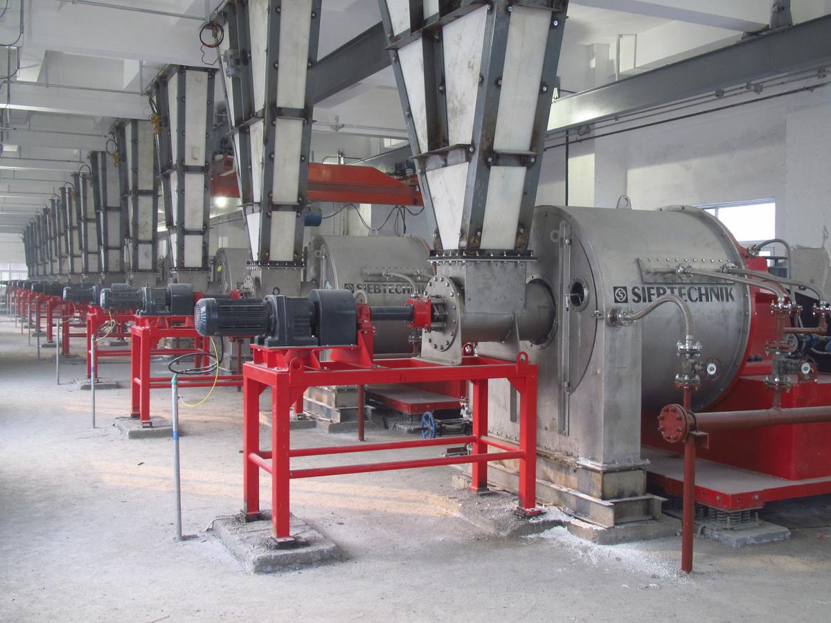 Schubzentrifuge SHS in einer Anlage für Natriumkarbonat