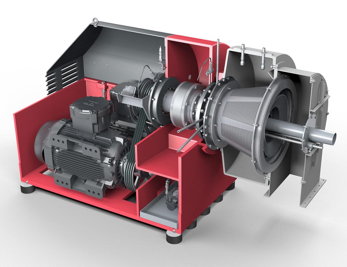 Siebschneckenzentrifuge CONTURBEX - Filtrations-Zentrifuge. Ansicht auf Motor, Getriebe und Siebkorb (Vereinfachte Darstellung)