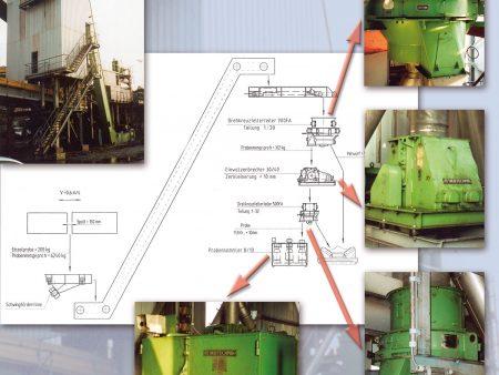 automatische Probenahme mit Aufbereitungsanlage für Kohle, Schiffsbeladung, Niederlande. Die Anlage besteht u.a. aus Drehkreuztellerteilern, Einwalzenbrecher, und Probensammlern, Einzelprobe = 208 kg