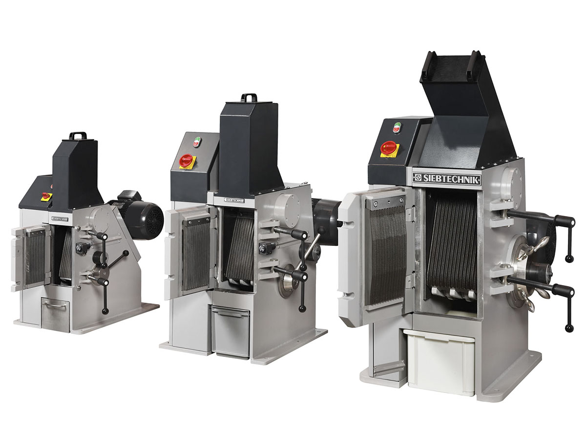 Jaw crushers model EB 100 x 80-L, EB 150 x 100-L and EB 200 x 125-L - size comparison